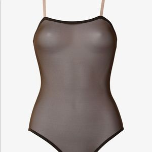 Sheer Black Cami Leotard with Nude Strap